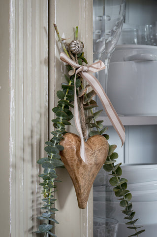 Retreat Natural Wooden Distressed Hanging Heart