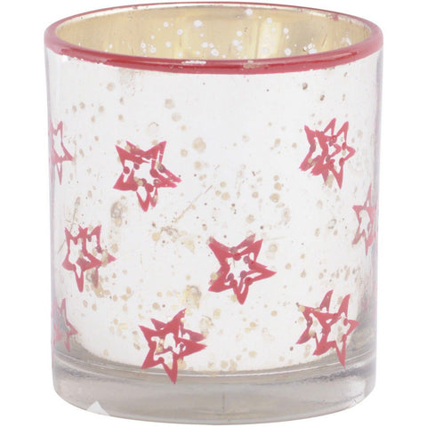 Antiqued Silver & Red Star Votive Holder
