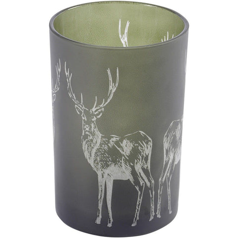 Deer Frosted Green Small Hurricane Lantern