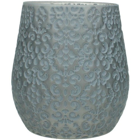 Libra Patterned Grey Candle Holder