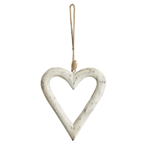 Antique White Carved Wooden Heart