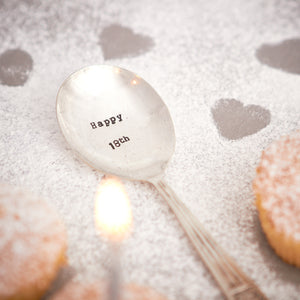 "Vintage Hand Stamped Tea Spoon ""Happy 18th"""