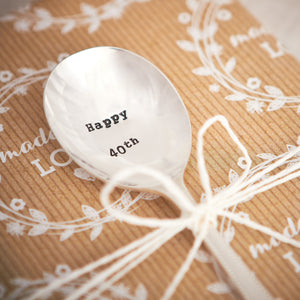 "Vintage Hand Stamped Tea Spoon ""Happy 40th"""