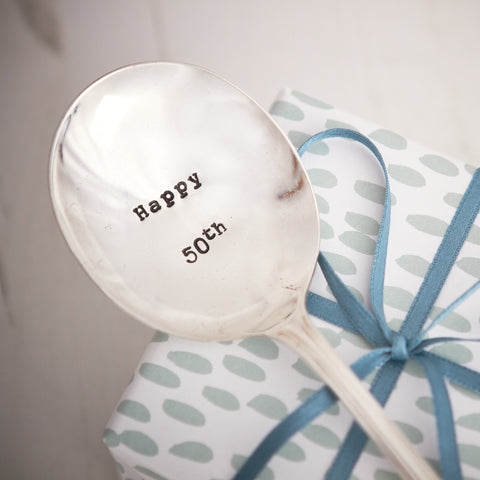 "Vintage Hand Stamped Tea Spoon ""Happy 50th"""