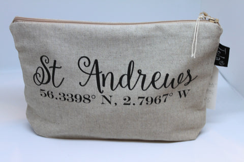 """St Andrews"" Co-ordinates Handmade Cosmetic Bag"