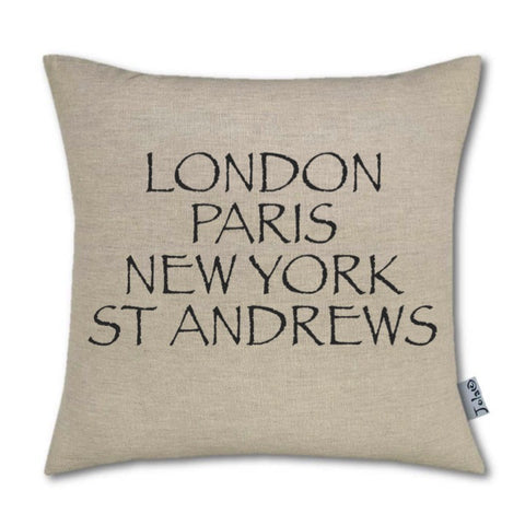 """London, Paris, New York, St Andrews"" Large Handmade Cushion"