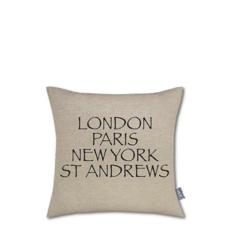 """London, Paris, New York, St Andrews"" Small Handmade Cushion"