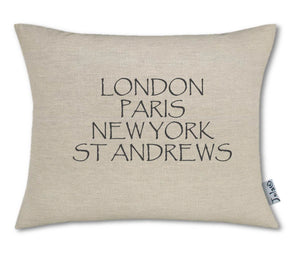 """London, Paris, New York, St Andrews"" Medium Handmade Cushion"
