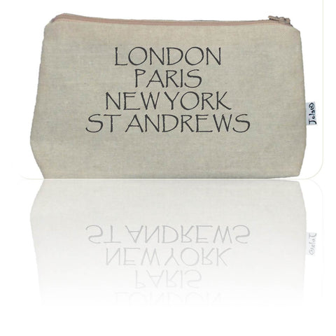 """London, Paris, New York, St Andrews"" Handmade Cosmetic Bag"