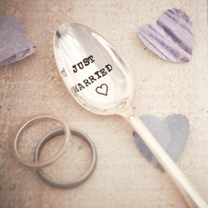 "Vintage Hand Stamped Tea Spoon ""Just Married"""