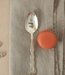 "Vintage Hand Stamped Tea Spoon ""I Love You"""