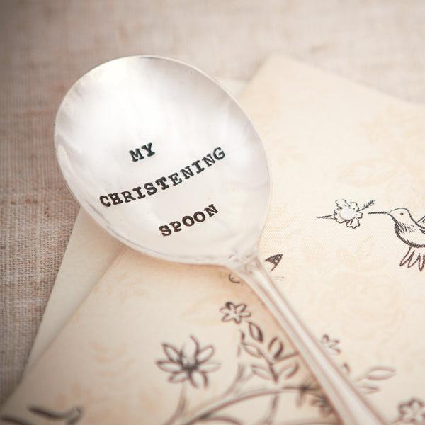"Vintage Hand Stamped Tea Spoon ""My Christening Spoon"""