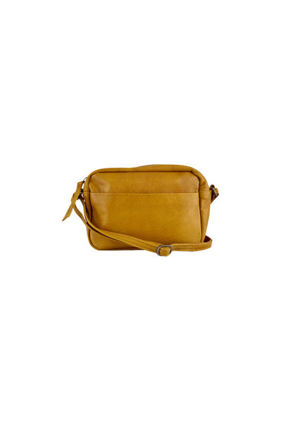 Black Colour Leather Small Honey Yellow Bag