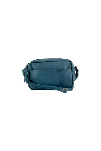 Black Colour Leather Small Jeans Blue Bag