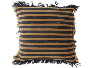 Chenille Stripe Beige and Charcoal Cushion