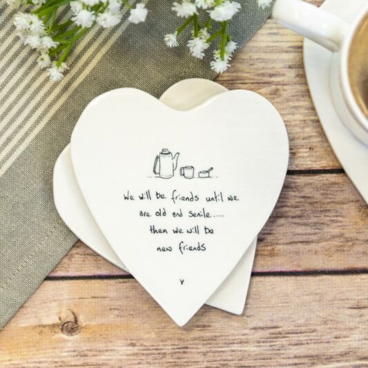 """We will be Friends"" Porcelain Heart Coaster"