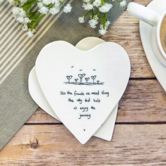 """Its the Friends"" Porcelain Heart Coaster"