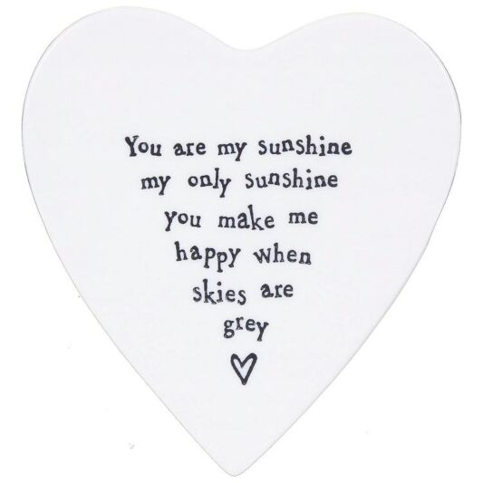"""You are my Sunshine"" Porcelain Heart Coaster"