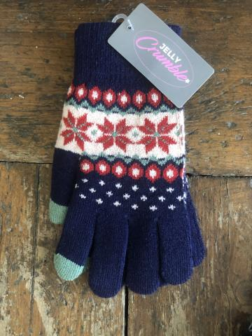 Fairisle Navy Gloves