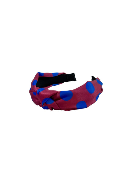 Fuchsia/ Blue Dot Headband