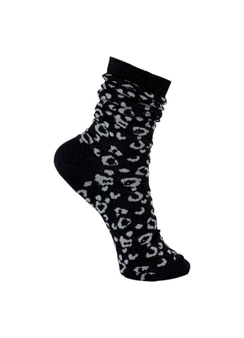 Black/White Leopard Socks