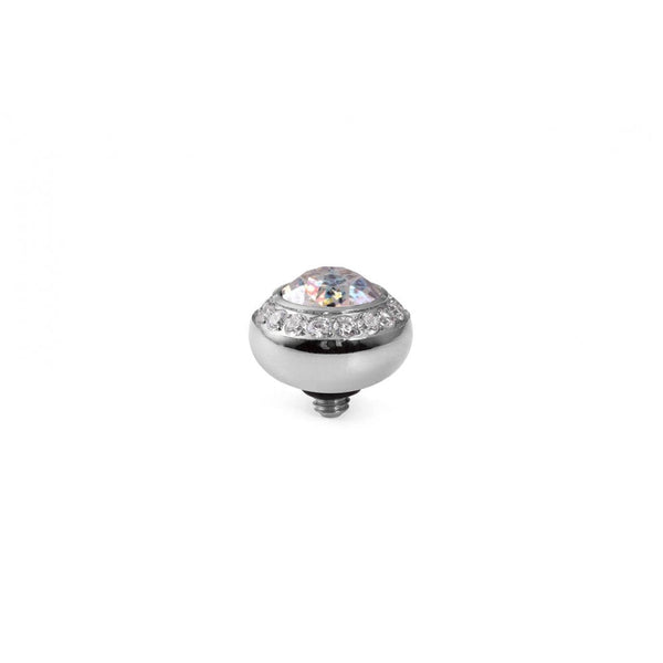 Qudo Silver 10mm Tondo Deluxe Ring Top Crystal