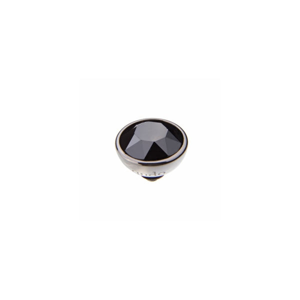 Qudo Silver 10mm Bottone Ring Top Jet