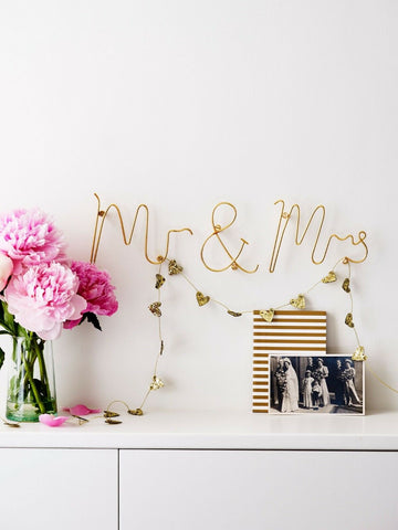 Gold Mr & Mrs Wire Words