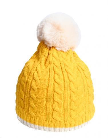 Mustard Cable Knit Hat