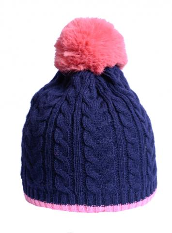 Navy/Pink Cable Knit Hat