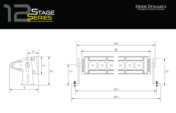 Stage Series SS12 White 12 inch LED Light Bar Driving Optic One Diode Dynamics