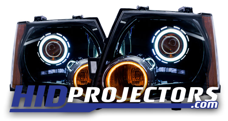 05+ Xterra Headlights With Monster Shrouds and switchback turn signal halos