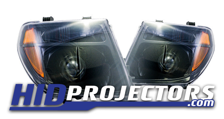 2004-2008 Nissan Frontier Headlights with Mini Gatling Shrouds