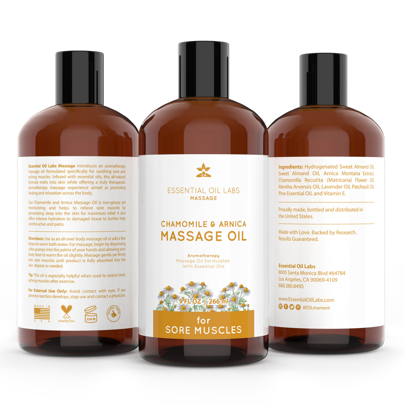 Chamomile & Arnica Massage Oil, 9 oz.