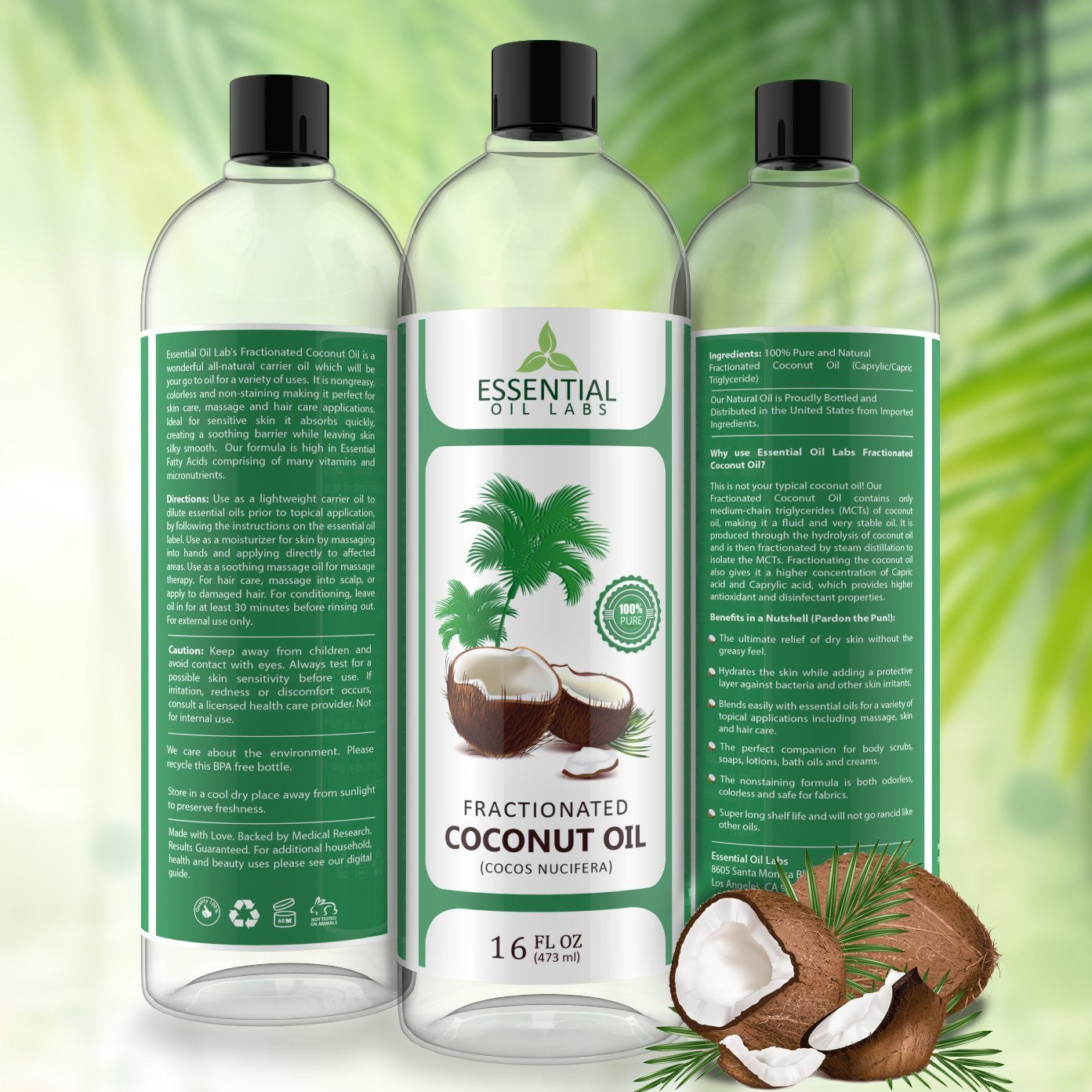 Fractionated Coconut Oil - 16 Oz.