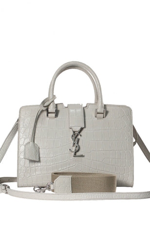 YSL Mini Cabas Stamped-Croc Satchel Bag White