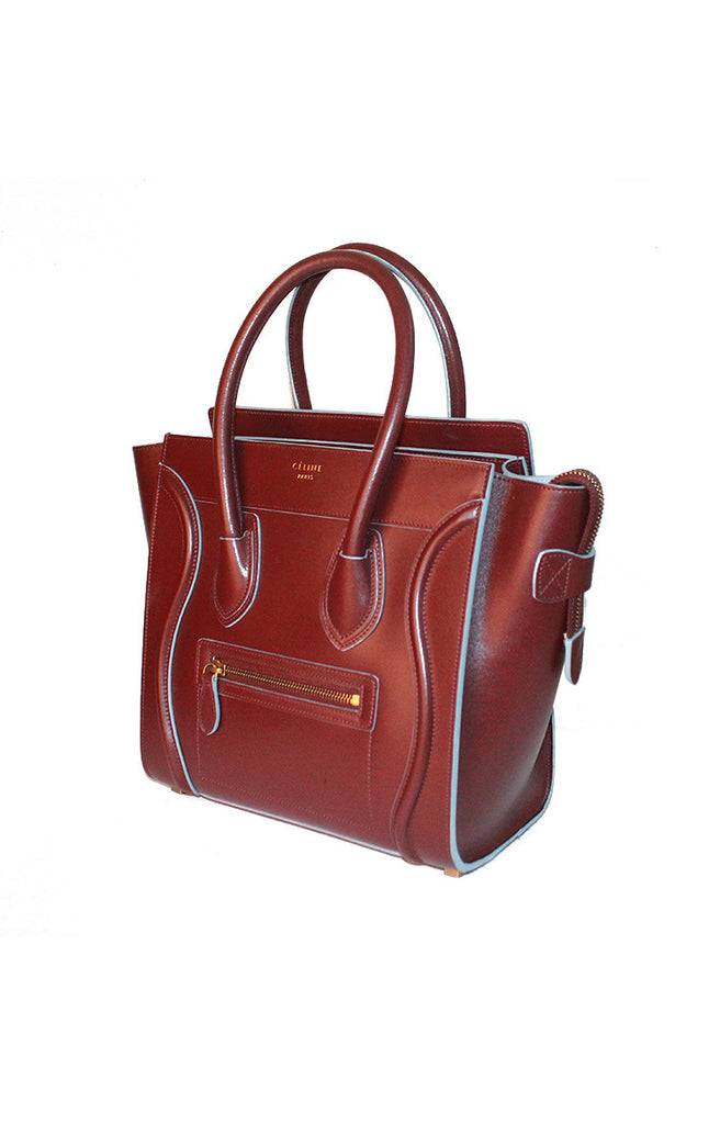 Céline Mini Luggage - Bicolour Burgundy & Sky Blue Tote Bag
