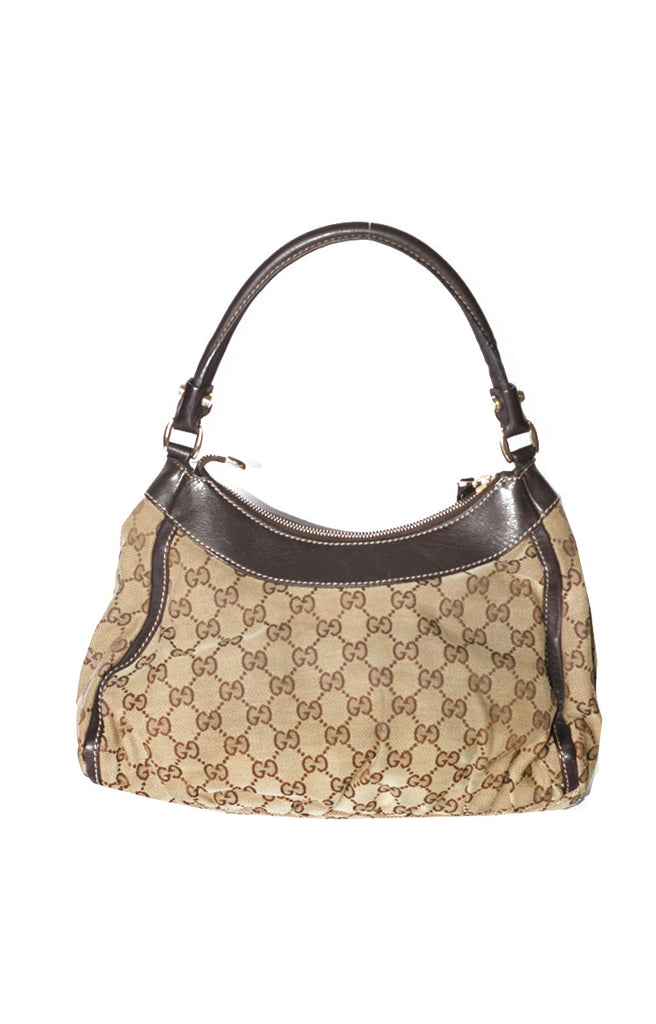Gucci Canvas Gold D-Ring Hobo Bag Small