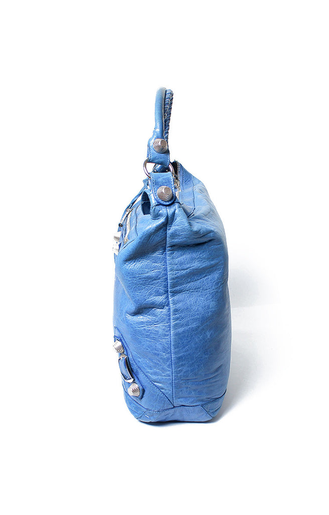 Arena Covered Giant Brogues Day Hobo Bag Blue Leather