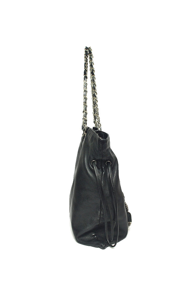 Black Lambskin Disc Jumbo Shoulder Tote Bag