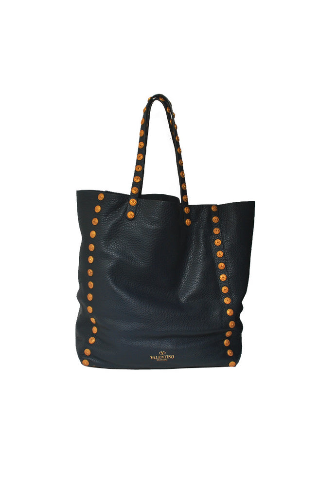 Studded Large Tote Pebbled Leather GHW in Navy Blue