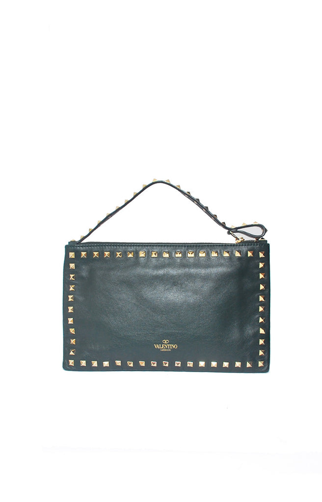 Rockstud Small Clutch in Dark Green