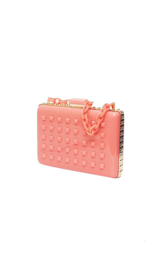 Studded Evening Bag in Pink