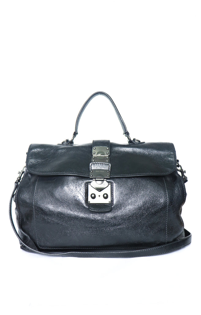 a25fcbe6ef8 Miu Miu Vitello Lux Leather Medium Bow Bag Purse Satchel Handbag Nero Black  – Reloved
