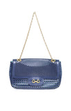 Salvatore Ferragamo Luciana Laser-Cut Shoulder Bag Blue