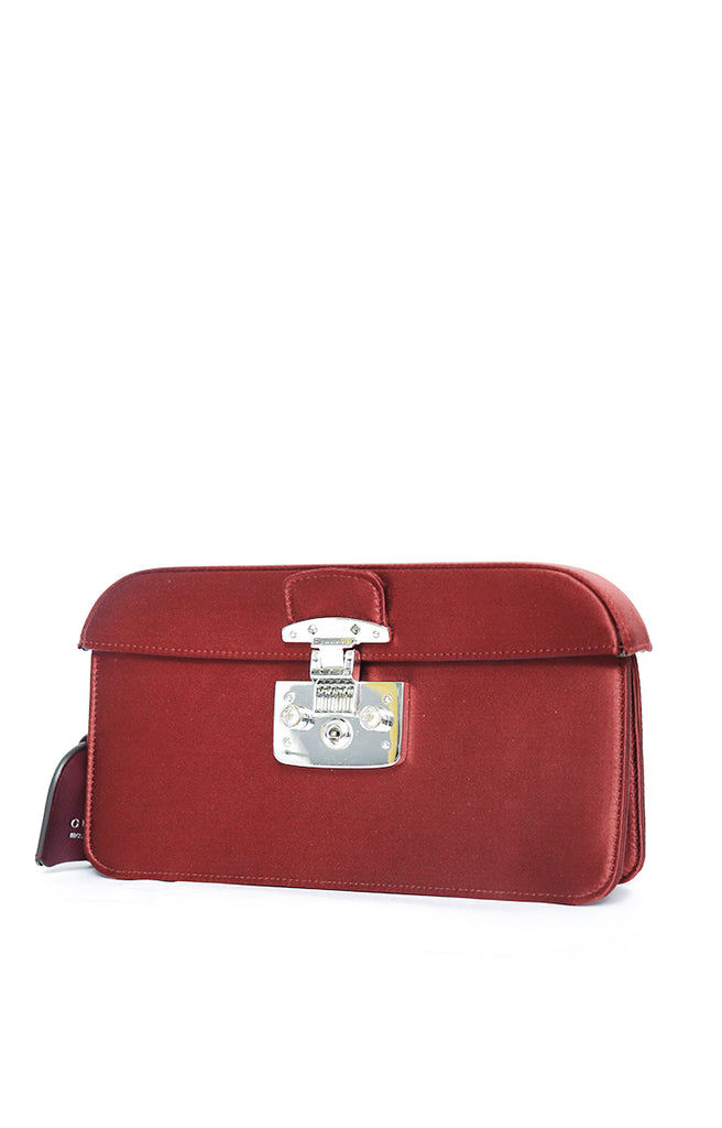 Gucci Lady Lock Red Satin Evening Clutch Bag