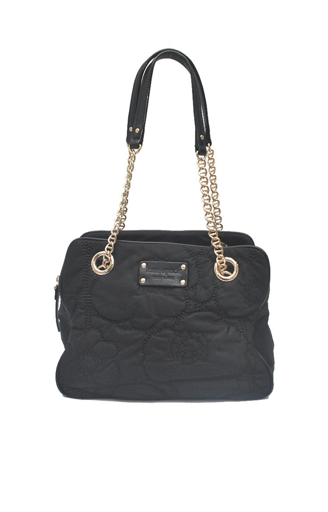 Shoulder Bag with Floral Stitches