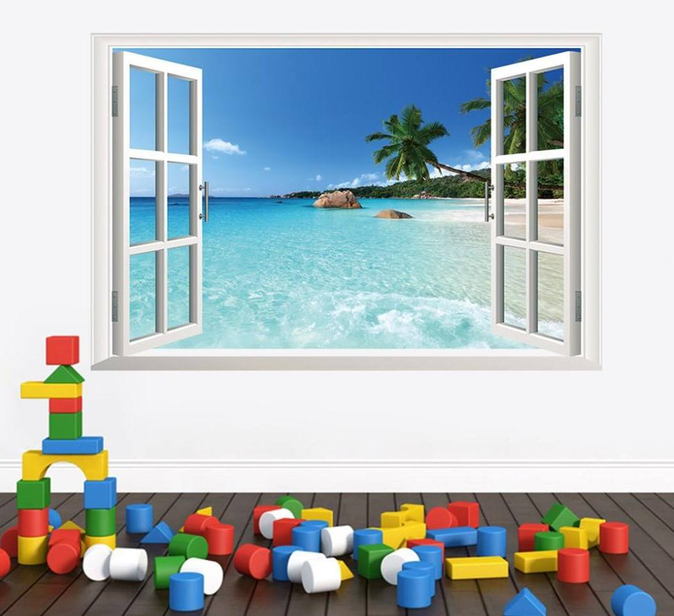 Window Frame Wall Art 3d removable beach wall art stickers (window frame) - simply adore