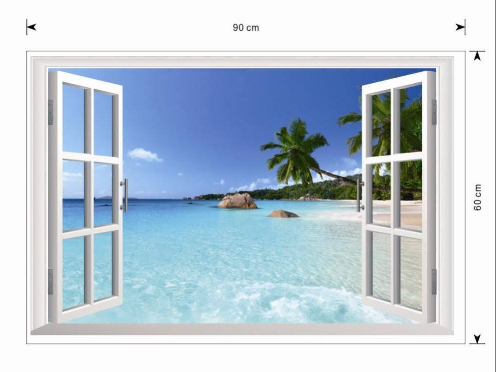 sc 1 st  Simply Adore & 3D Removable Beach Wall Art Stickers (Window Frame) - Simply Adore