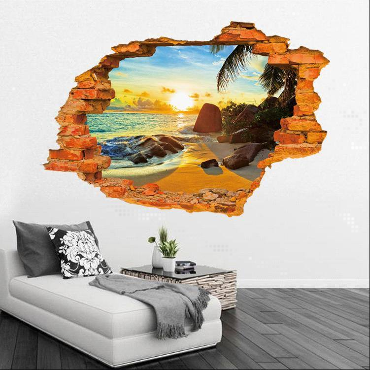 3d Removable Beach Sunrise Wall Art Stickers Simply Adore